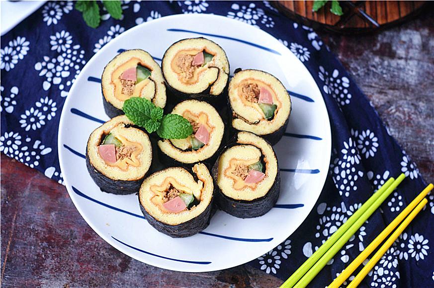 烤箱蛋糕紫菜卷#跨界鸡肉探索未来#中式肉松卷图片