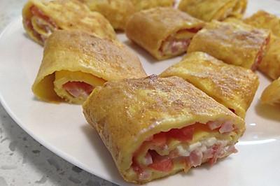 火腿番茄奶酪鸡蛋卷(快手早餐,易胜博开户:适合小朋友哦)