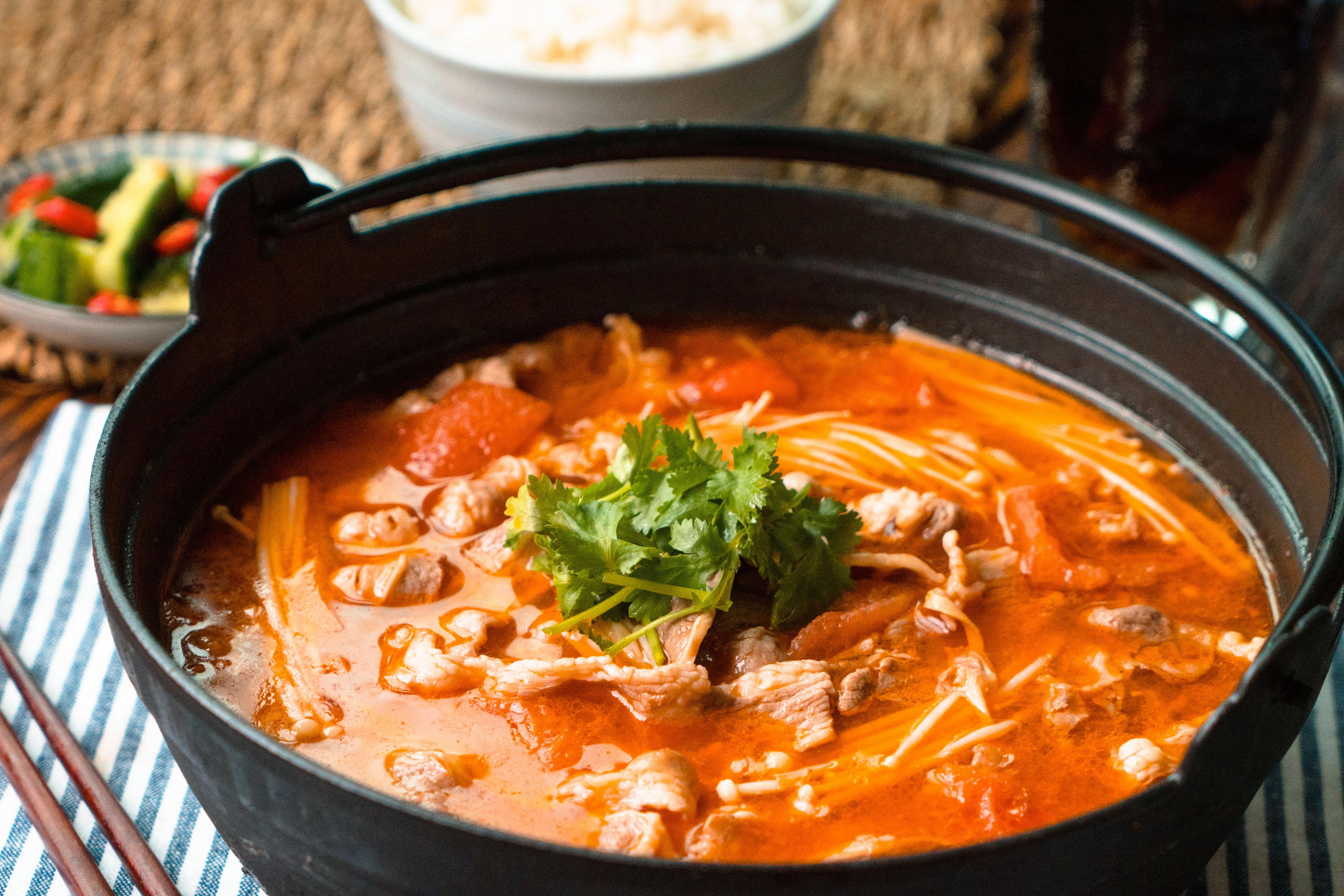 日食记|金针菇番茄菜谱锅的肥牛_做法_豆果美干豌豆怎么好煮不脱皮图片