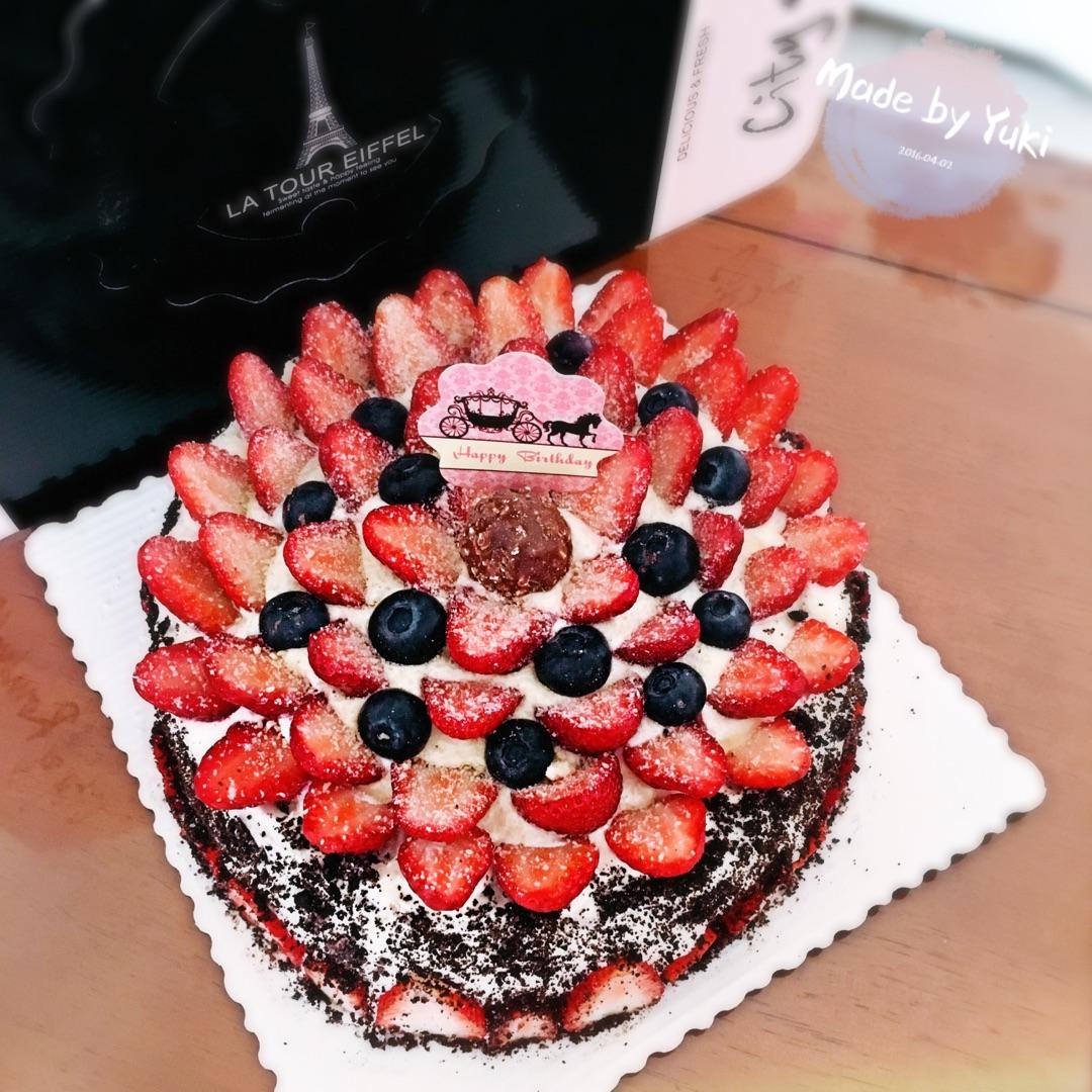 草莓蓝莓奥芯奶油蛋糕#豆果5周年图片