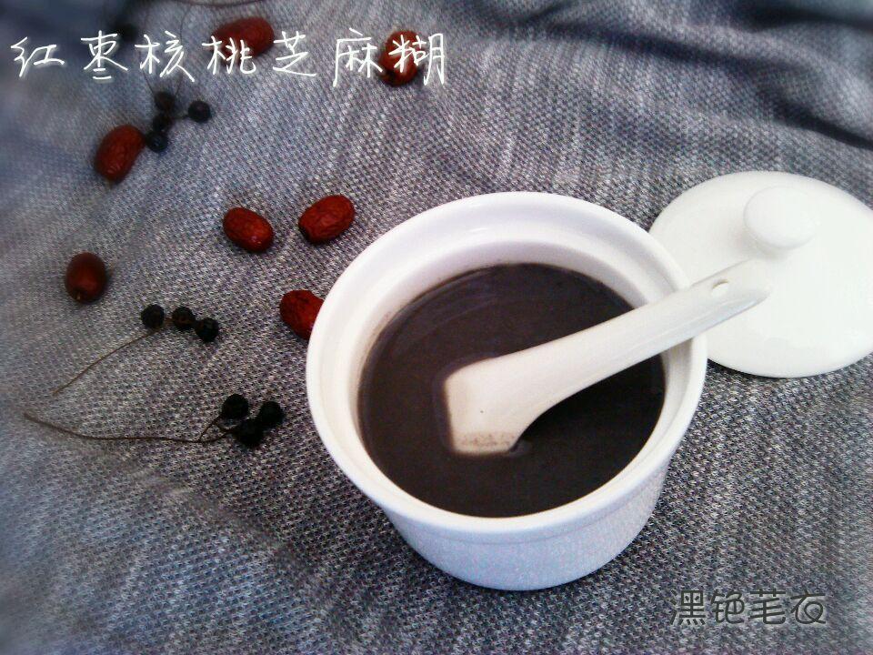 #核核桃相#美味红枣芝麻糊(豆浆机版)蒜茸粉丝大虾图片