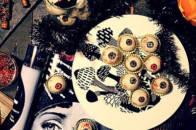 万圣节搞怪美食  新鲜眼球(红丝绒迷你蛋糕)
