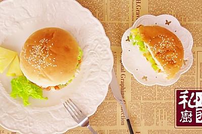 桑巴烤菠萝鸡汉堡
