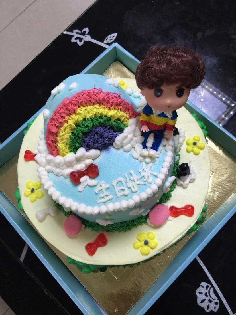 儿童双层彩虹生日蛋糕