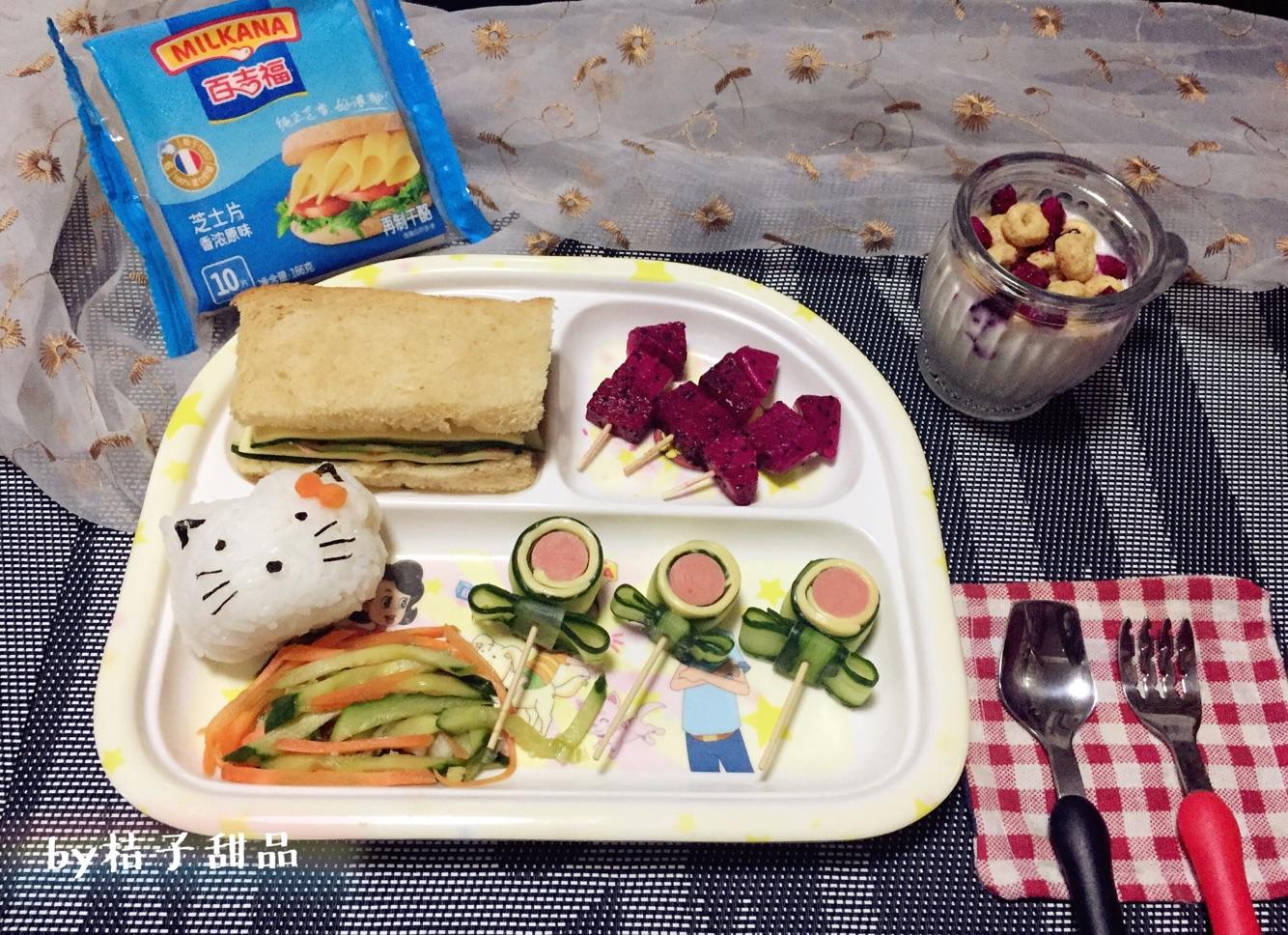 芝士三明治卡通饭团便当#百吉福食尚达人#的做法