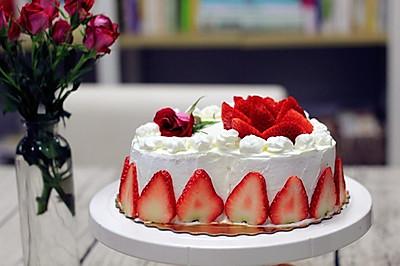 草莓奶油蛋糕(附8寸戚风做法)