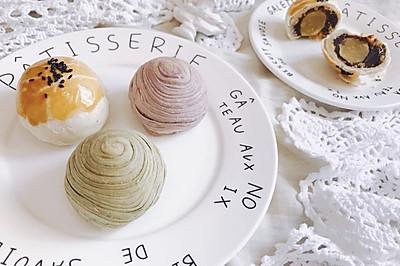 三色蛋黄酥 - 紫薯 抹茶 古早味 中秋节月饼中式糕点