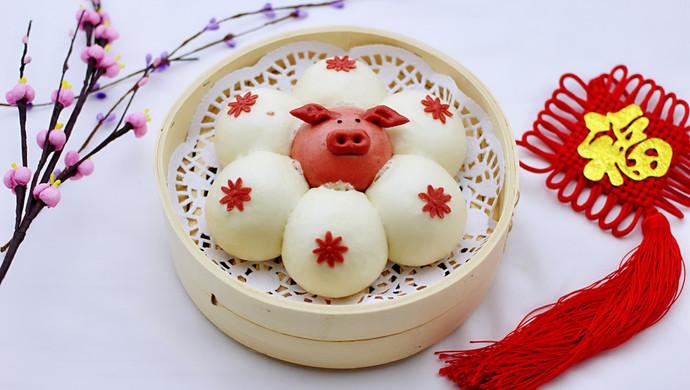 年味十足的中式面点#萌猪报春花样馒头
