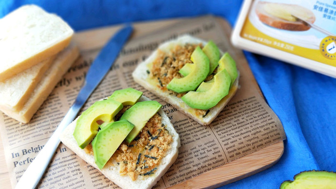 开放式肉松科技牛油果三明治#安佳黑食品易涂黄油惠州图片