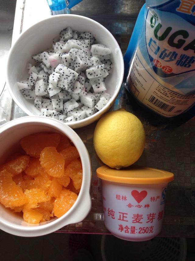 火龙果橘子果酱的做法步骤 1.