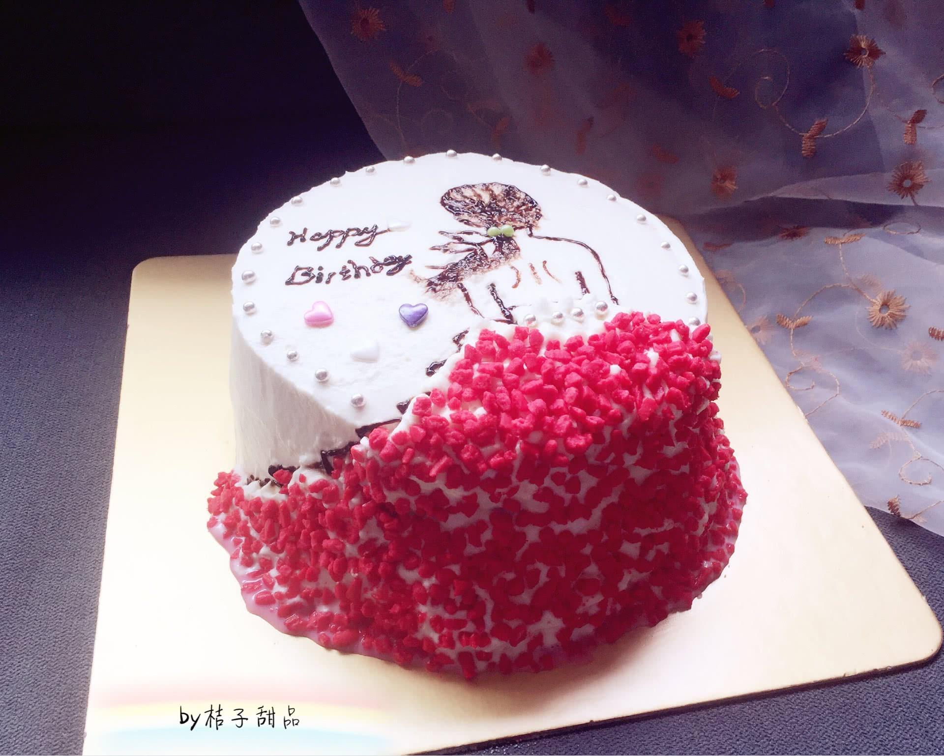 女孩背影手绘生日蛋糕(附8寸戚风详细做法)#有颜值的实力派