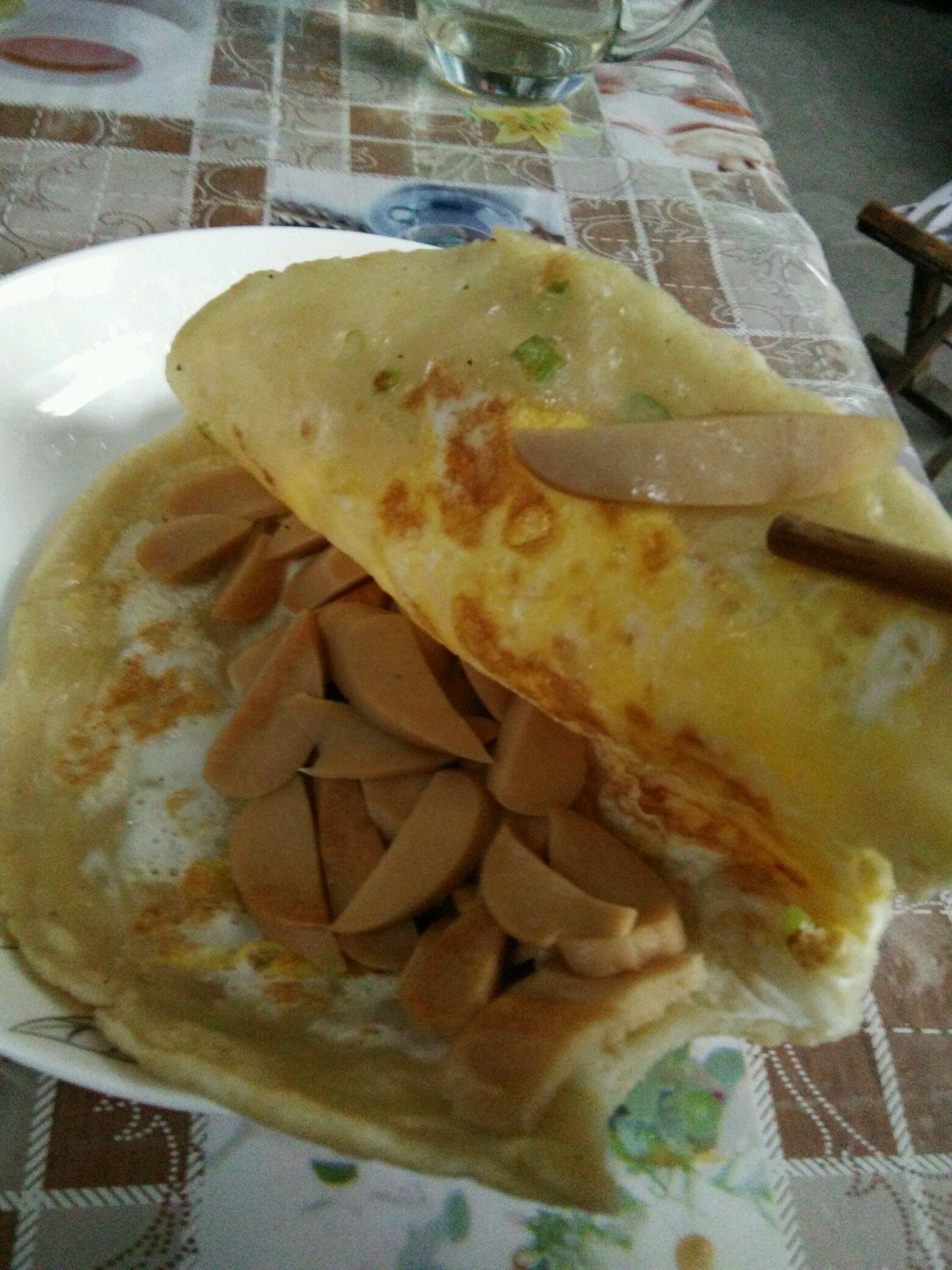 鸡蛋火腿烙饼的做法图解2