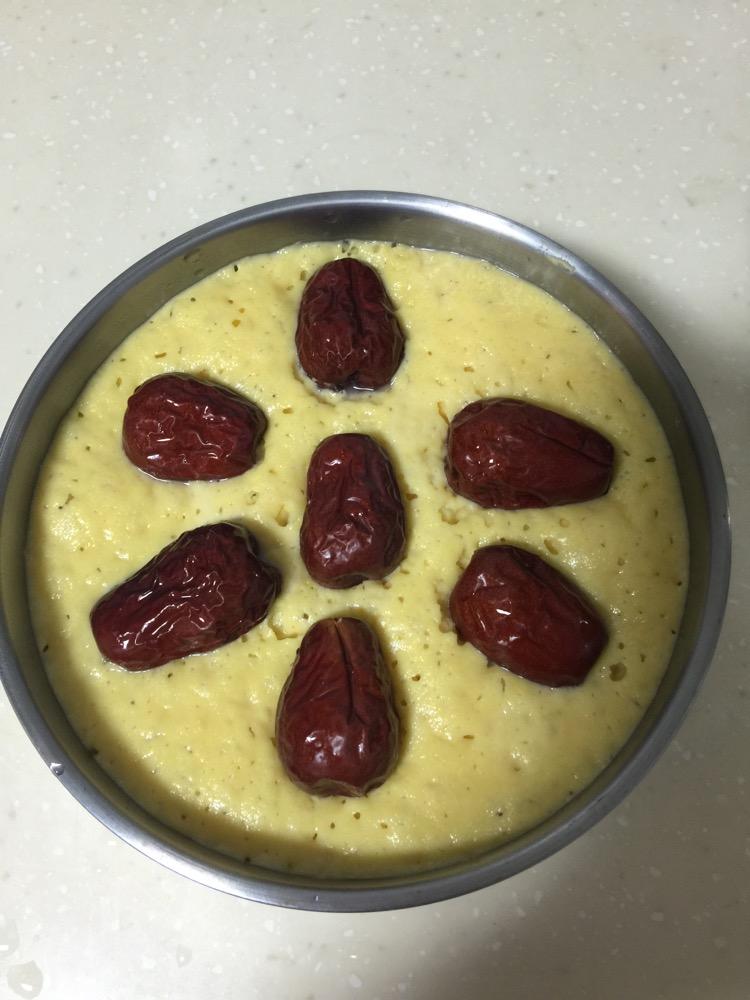 红枣玉米牛奶发糕的做法图解3