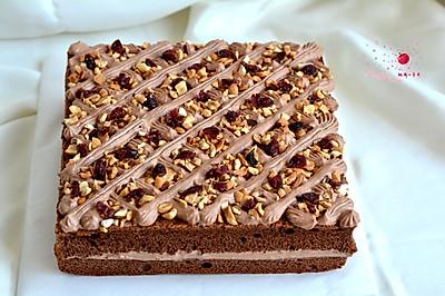 可可奶油果仁蛋糕#美的烤箱菜谱#