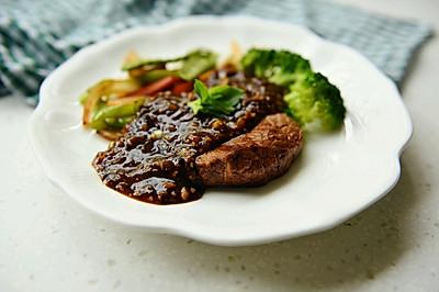 黑椒牛排配时蔬——自己熬制黑椒汁儿#自己做更健康#
