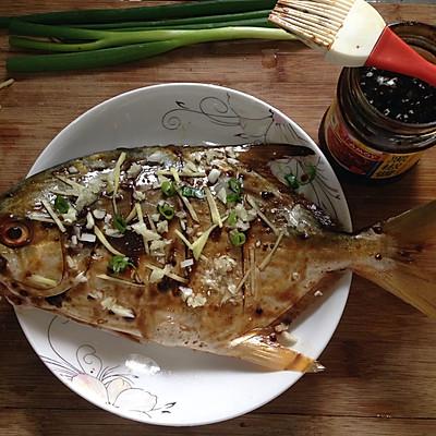 烤金鲳鱼#美的做法菜谱#的烤箱_菜谱_豆果美香菜田鸡汤图片