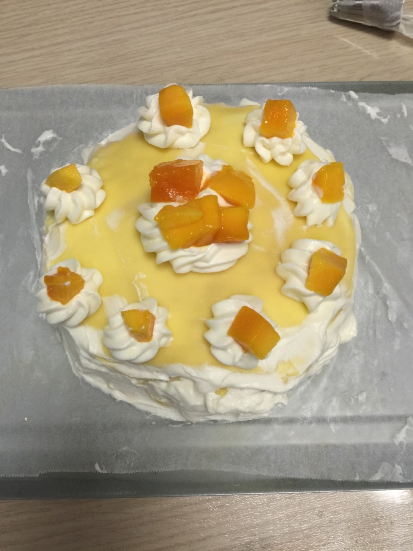 糖粉20g 奶油:淡奶油250ml 糖粉35g 芒果500g 芒果千层的做法步骤 1.