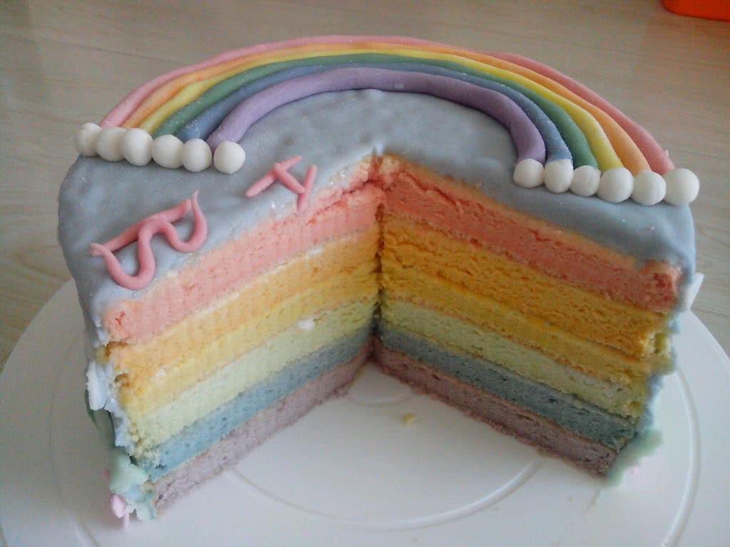 翻糖彩虹蛋糕图片