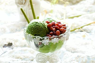 抹茶蜜豆冰淇淋#七彩七夕#