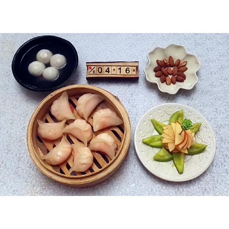 04.16):水晶虾饺皇 黑芝麻汤圆 水果拼盘 扁桃仁