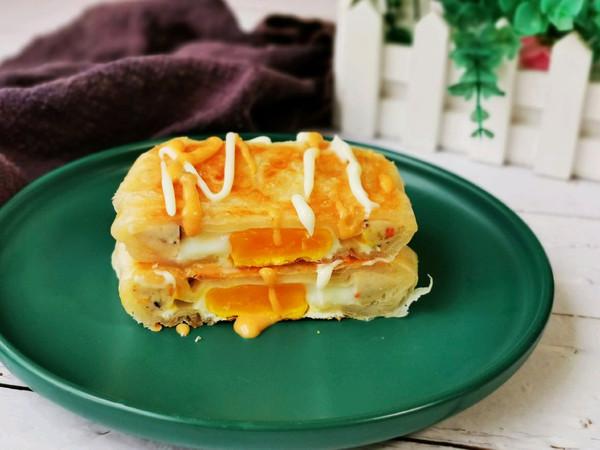 手抓饼的新吃法:香酥火腿蛋饼