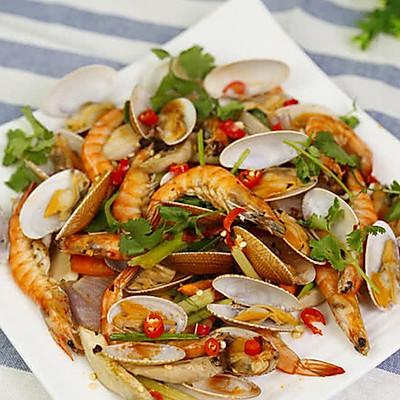 大虾烤花蛤的做法