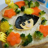 萌娃芝士三明治-爱冒险的朵拉DORA #百吉福食尚达人#的做法图解8