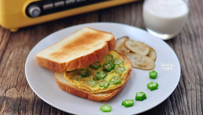 美好早晨:烤吐司+秋葵煎蛋
