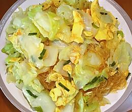 包菜鸡蛋炒粉丝的做法