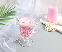 天然粉色: 红心火龙果牛奶西米露的做法