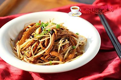 豆豉千叶豆腐丝炒豆芽