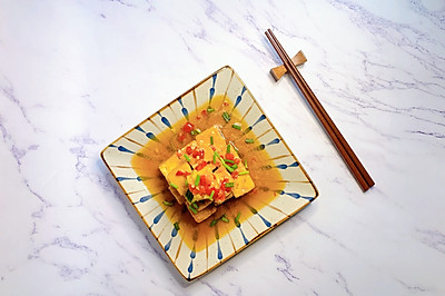 老豆腐新吃法-剁椒虎皮豆腐