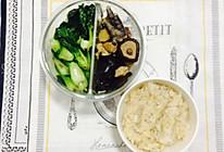 【健身餐】香菇炖鸡+小炒青菜+糙米饭的做法
