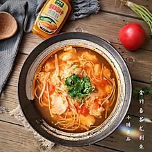 金针菇番茄龙利鱼#太太乐鲜鸡汁蒸鸡原汤#