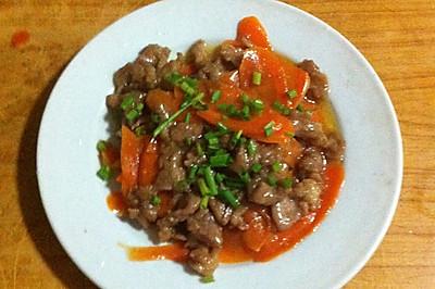 红萝卜炒肉片