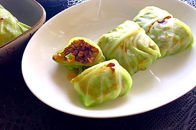 圓白菜包飯(附西蘭花莖不浪費方法)—— 素食·一人食