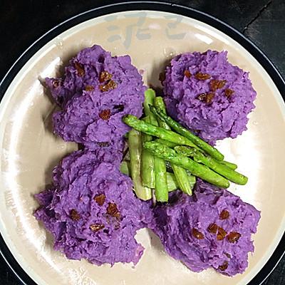 紫薯土豆泥配芦笋