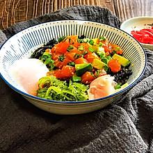 #餐桌上的春日限定#减脂餐之三文鱼牛油果波奇饭(附温泉蛋)