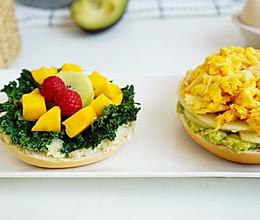 1个贝果2种口味|蟹味滑蛋森林元气三明治的做法
