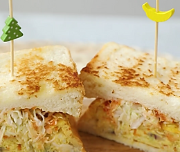 口感超级丰富的什锦蔬菜厚蛋烧三明治的做法