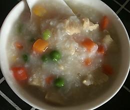 减肥鸡肉蔬菜粒粥的做法