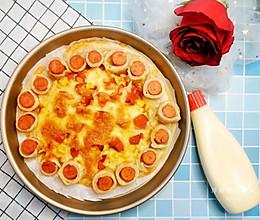 快手制作网红手抓饼披萨的做法