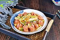 #我们约饭吧#香肠炒年糕的做法