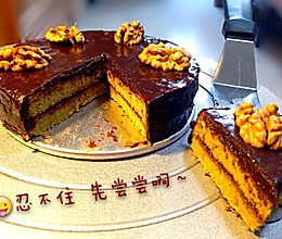 抹茶蛋糕淋巧克力甘那许的做法