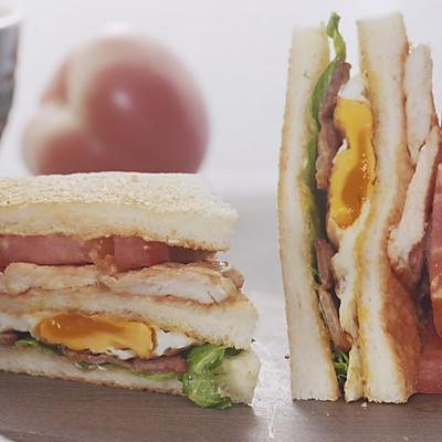 【三明治】两颗鸡蛋做个能量餐,漂亮!