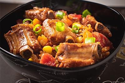 有肉有菜好美味,特别适合厨房小白的美食,排骨腊肠焖饭
