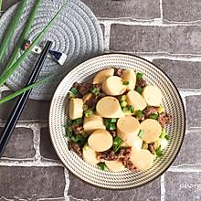 #肉食者联盟#豆角牛肉粒煮日本豆腐