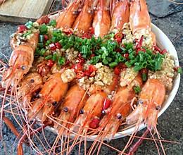蒜泥油淋大海虾的做法
