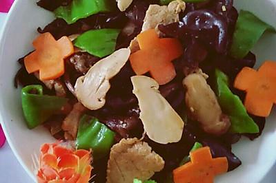 肉磨,松茸,木耳炒肉