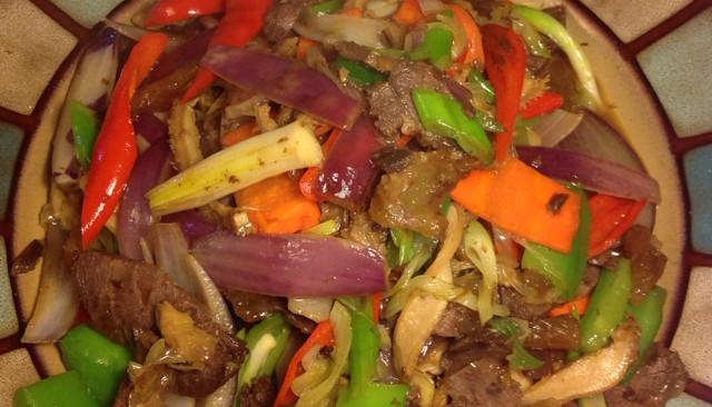 辣炒卤牛肉的做法